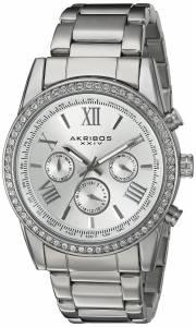 [アクリボス XXIV]Akribos XXIV  Round Silver Dial Three Hand Quartz Bracelet Watch AK868SS