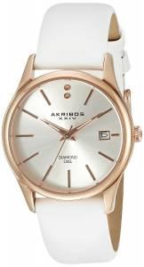[アクリボス XXIV]Akribos XXIV  Analog Display Rose GoldTone Watch with White Band AK879WTR