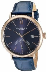 [アクリボス XXIV]Akribos XXIV Retrograde Rose Tone Stainless Steel and Blue Leather AK845RGBU