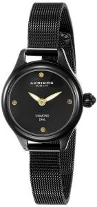 [アクリボス XXIV]Akribos XXIV  Round Black Dial Two Hand Quartz Bracelet Watch AK873BK