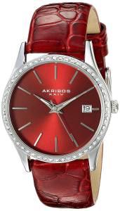 [アクリボス XXIV]Akribos XXIV Round Red Dial Three Hand Quartz Stainless Steel Strap AK883RD