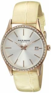 [アクリボス XXIV]Akribos XXIV Round Silver Dial Three Hand Quartz Rose Gold Tone Strap AK883WTR