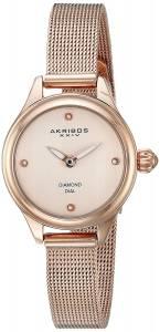 [アクリボス XXIV]Akribos XXIV  Round Rose Gold Dial Two Hand Quartz Bracelet Watch AK873RG