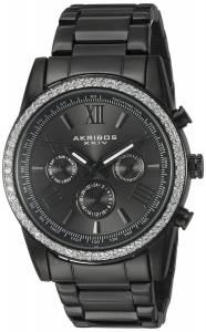 [アクリボス XXIV]Akribos XXIV Round Dark Gray Dial Three Hand Quartz Black Bracelet AK868BK