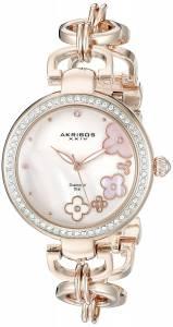 [アクリボス XXIV]Akribos XXIV Round Pink Mother of Pearl Dial Three Hand Quartz Rose AK874RG
