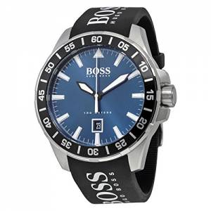 [ヒューゴボス]HUGO BOSS Deep Ocean Black / Silver / Blue Silicone Analog Quartz Watch 1513232