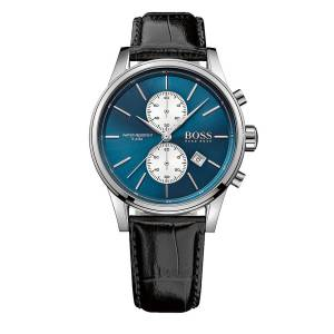 [ヒューゴボス]HUGO BOSS  Black Leather Blue Dial Chronograph Quartz Analog Watch HB 1513283