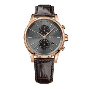 [ヒューゴボス]HUGO BOSS Jet Black / Rose Gold / Brown Leather Analog Quartz 1513281