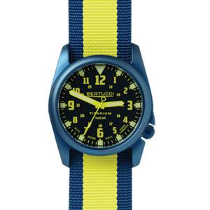 [ベルトゥッチ]bertucci 腕時計 Yellow and Blue Nylon Strap Band Black Dial Watch 13455